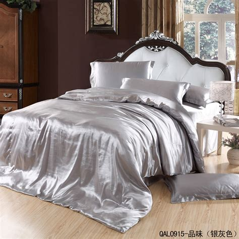 silver grey silk bedding set satin sheets super king size