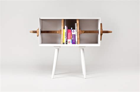 twist me bookcase with screwing bookends by mejd studio