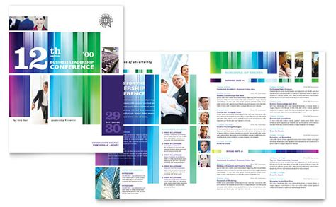 Business Leadership Conference Brochure Template Design Conference Agenda Template Indesign