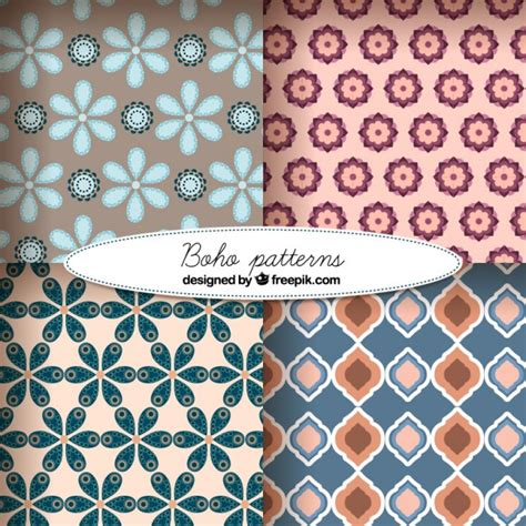 cute pattern set cute boho style pattern set vector free download