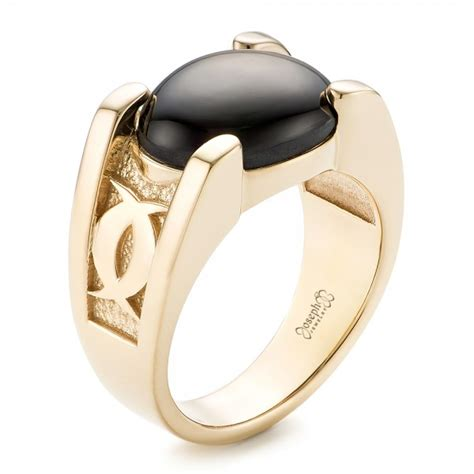 custom s black sapphire and yellow gold ring 102518