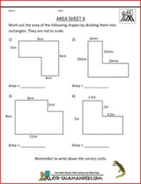 Area Of Compound Shapes Worksheet by Area Sheet 6 A Math Area Worksheet On The Area Of