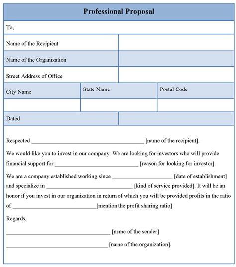 professional bid template template for professional format of professional