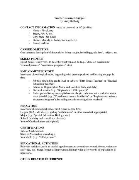 Resume Format Doc For Teachers Update 9667 Resume Sle For Teachers 47 Documents Bizdoska