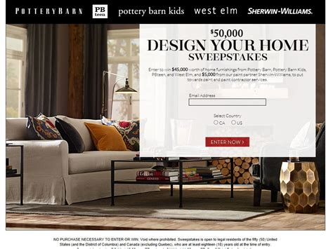 Pottery Barn Sweepstakes - pottery barn 50k design your home sweepstakes