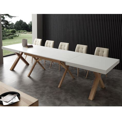 white extendable dining table with solid wood frame