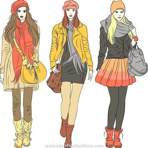 modee kleider winter fashion illustration sketch the rainbow