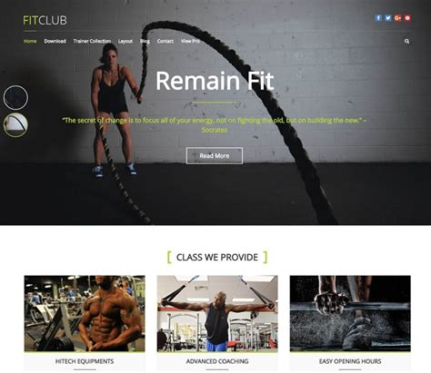 wordpress theme center layout 10 best free responsive fitness wordpress themes