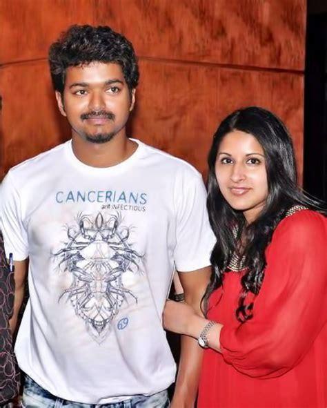 actor vijay sangeetha photos cinema actor vijay with his wife sangeetha recent photos