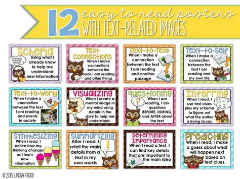 themes in reading comprehension reading comprehension strategies posters owl theme