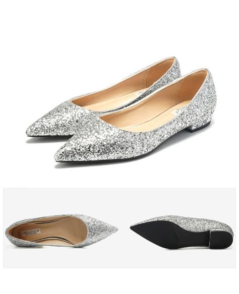 Flat Shoes Glitter Gold glitter gold prom flat shoes pointed toe for 2018