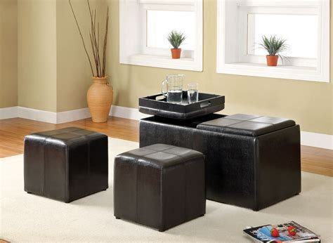Living Room Chair And Ottoman Maximizing Small Living Room Spaces Using Black Leather Ottoman Table With Tray Top Storage And