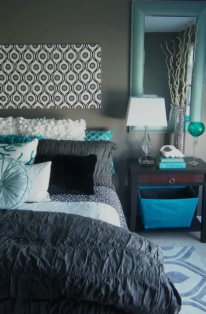 turquoise bedroom decor gray and turquoise bedroom contemporary bedroom