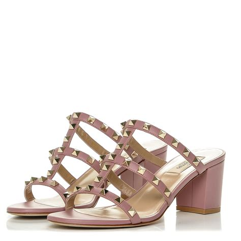 Kaos Valentino Shoes Bw valentino calfskin rockstud mule sandals 38 5 antique pink 187931