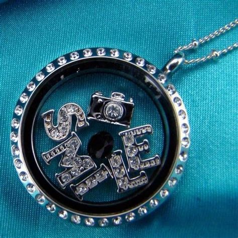 large silver locket with crystals photography locket
