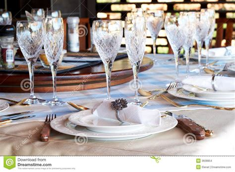 beautiful table beautiful table setting with crystal glasses stock images
