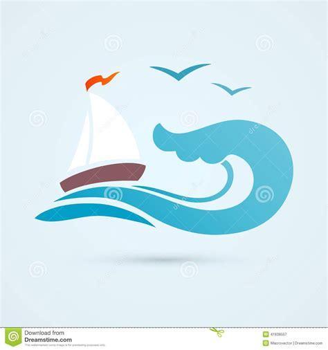 boat wave icon sail ship wave icon stock vector image 41638557