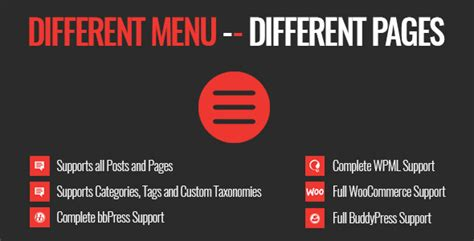 different templates for different pages wordpress different menu in different pages codecanyon item for sale