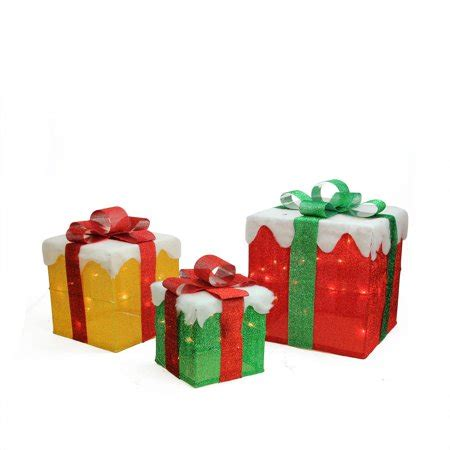 set of 3 lit gift boxes set of 3 lighted green and gold gift box present yard decorations walmart