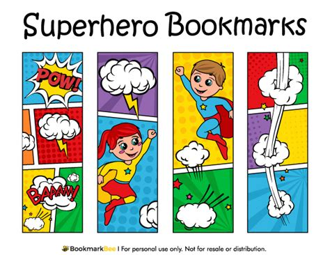 Printable Bookmarks Superheroes | printable superhero bookmarks