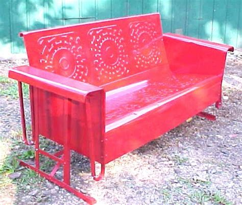 antique glider swing beautiful vintage red 1950 s heavy metal porch patio