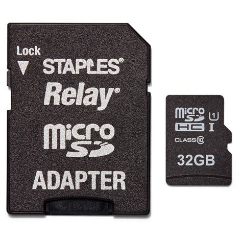 staples cards staples relay microsdxc 32 gb with sd adapter staples 174