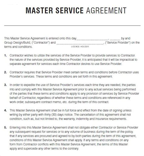 terms of service agreement template free master agreement template kidscareer info