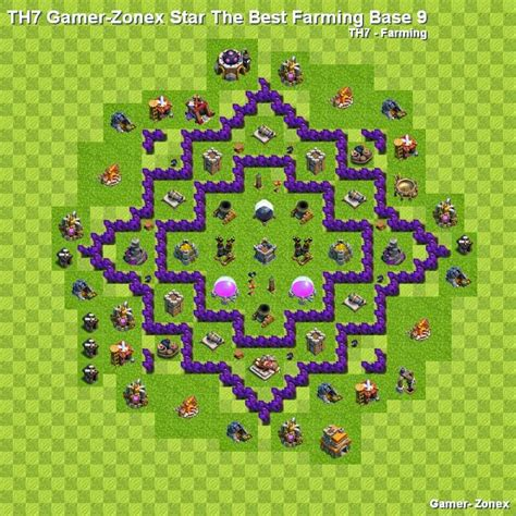 layout coc untuk th 7 th7 gamer zonex star the best farming base 9