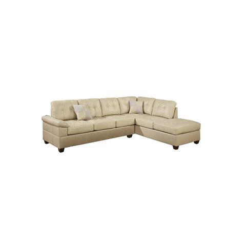Bobkona Sectional Sofa Poundex Bobkona Randel 2 Reversible Sectional Sofa In Khaki F7520