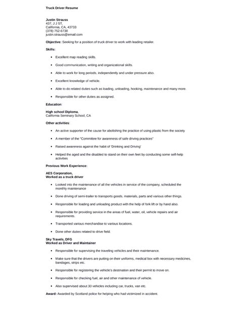professional nationwide truck driver resume template