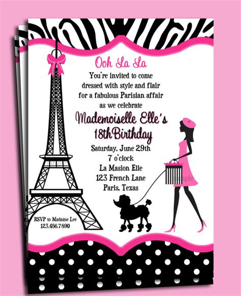 free printable birthday cards in french paris invitation printable or printed with free shipping