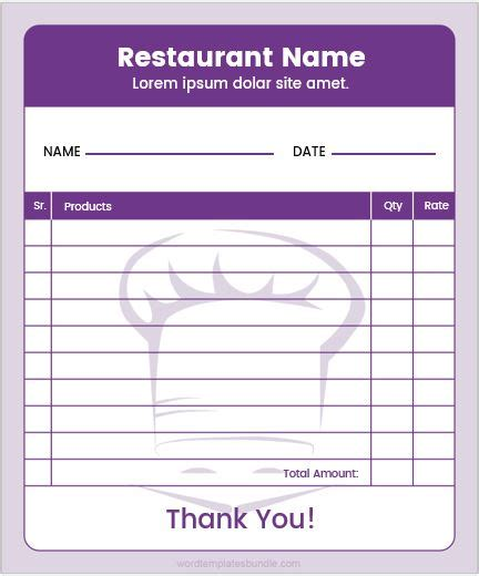 Restaurant Order Pad Templates For Ms Word Formal Word Templates Restaurant Ordering Template