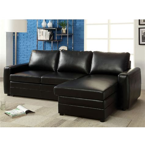 Sectional Sofa With Pull Out Bed Salem Sectional Sofa Pull Out Sleeper Bed Storage Chaise Black Bonded Leather Ebay