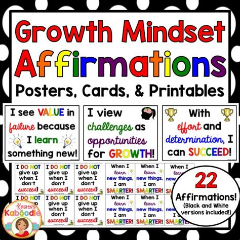 Task Cards Template For Affirmations by 17 Best Ideas About Growth Mindset Posters On