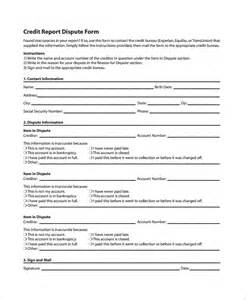 credit report dispute letter template 10 credit templates free sle exle format free