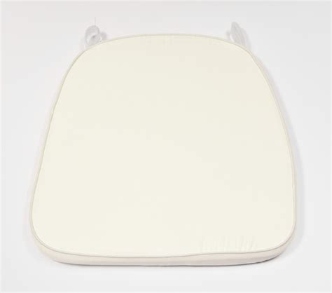 white chiavari cushion with velcro ivory velcro