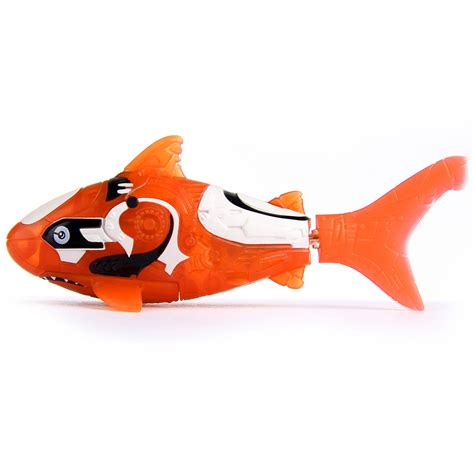 orange shark robo fish battery powered electronic pet colour orange