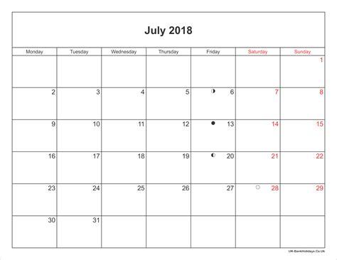 printable july 2018 calendar july 2018 calendar printable with bank holidays uk