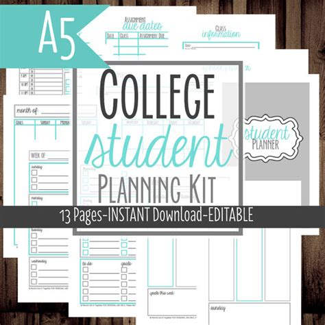 printable planner for college student 7 best images of college assignment planner printable