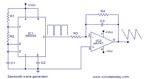 integrated circuit precision waveform generator sawtooth wave generator using ne555 and op ne555 is wired as square wave generator