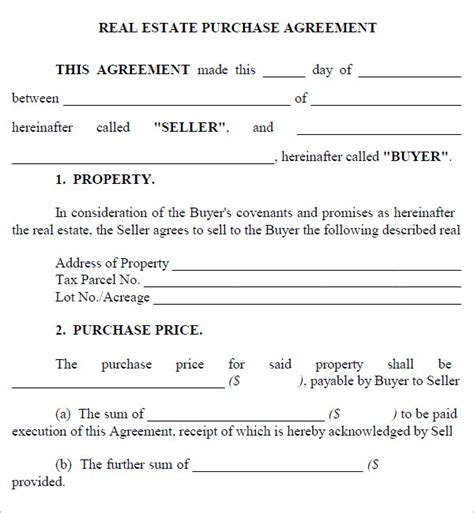 property contract template real estate purchase agreement 7 free pdf