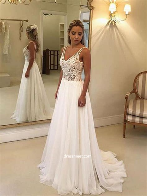 simple    neck open  white lace long wedding