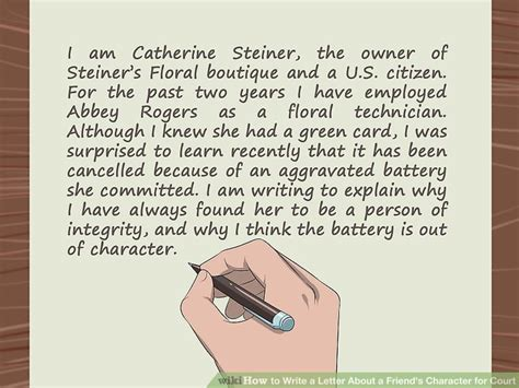 how to write a character letter for court how to write a letter about a friend s character for court