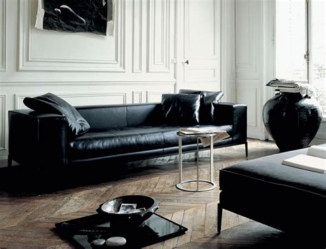 Living Room Design With Black Leather Sofa B B Italia S Gorgeous Furniture For Living Rooms