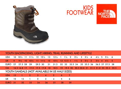 shoe size chart north face the north face shoes size guide style guru fashion