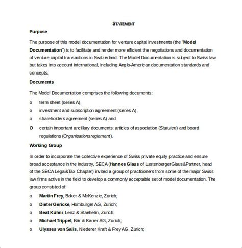 Venture Capital Investment Template investment agreement template 15 free word pdf