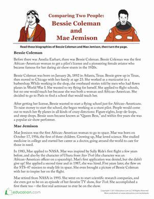 biography reading comprehension bessie coleman and mae jemison comprehension the o jays