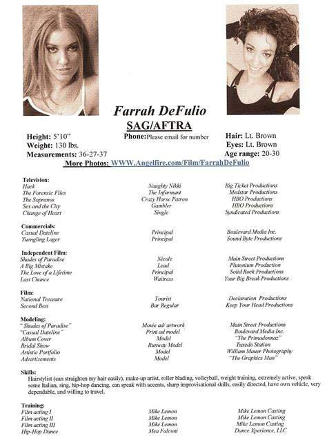 modeling resume template farrah s acting and modeling resume