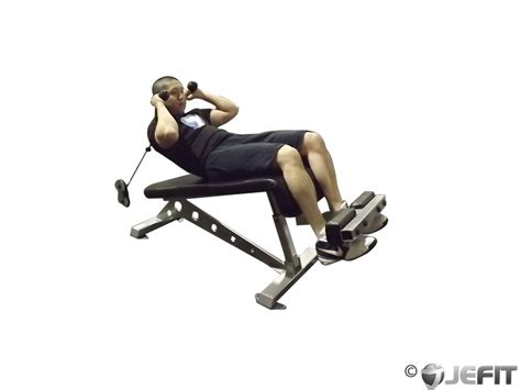 crunch on bench decline bench cable crunch exercise database jefit