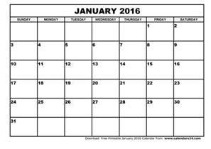 Calendar January 2016 January 2016 Calendar February 2016 Calendar